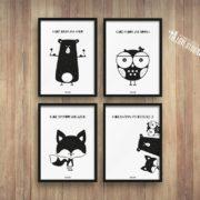 plakaty-dla-dzieci-dekoracje-pokoj-chlopca-dziewczynki-mis-sowa-lis-c