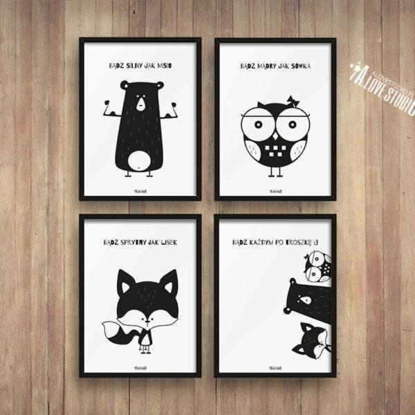 plakaty dla dzieci dekoracje pokój chłopca i dziewczynki miś sowa lis c