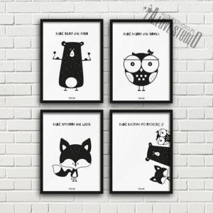 plakaty dla dzieci dekoracje pokój chłopca miś sowa lis 1