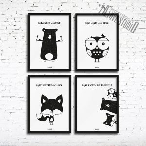 plakaty dla dzieci dekoracje pokój chłopca miś sowa lis 3