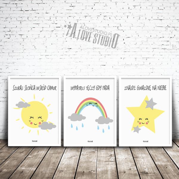 plakaty dla dzieci słońce tęcza gwiazdka alovestudio pl