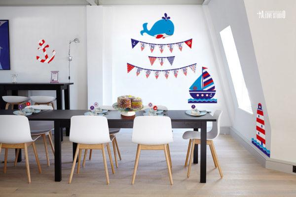 dekoracje urodzinowe na roczek dla dzieci styl marynarski a