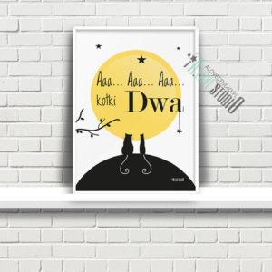 plakaty dla dzieci dekoracje pokój chłopca i dziewczynki aaa kotki dwa a