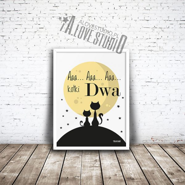 Plakaty, obrazki koty, księżyc dla dzieci pokój chłopca dziewczynki kotki dwa 1