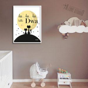 Plakaty, obrazki koty, księżyc dla dzieci pokój chłopca dziewczynki kotki dwa 2