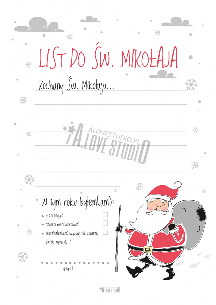 List do Mikołaja wzór do wydruku alovestudio pl 2