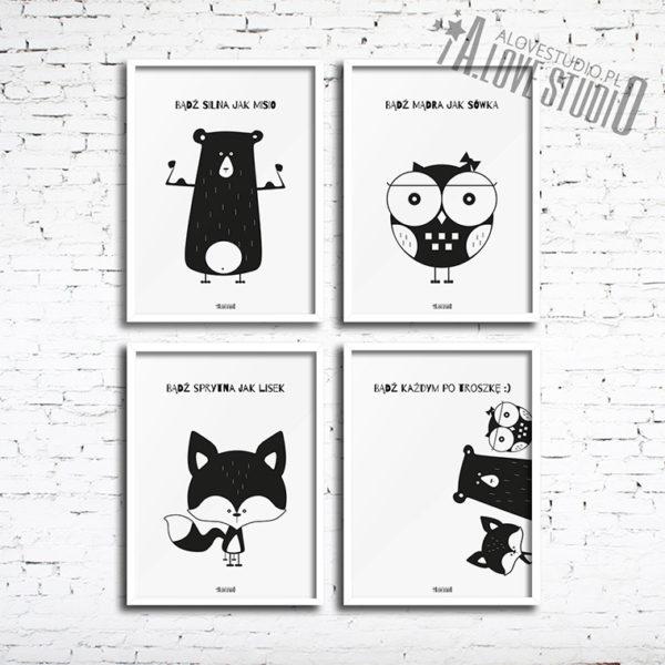 Plakaty dla dzieci miś sowa lis alovestudio 1