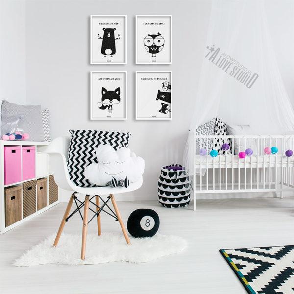 Plakaty dla dzieci miś sowa lis alovestudio 2