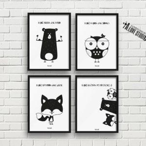 Plakaty dla dzieci dekoracje pokój dziewczynki miś sowa lis a