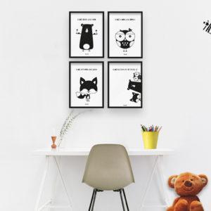 Plakaty dla dzieci dekoracje pokój dziewczynki miś sowa lis b