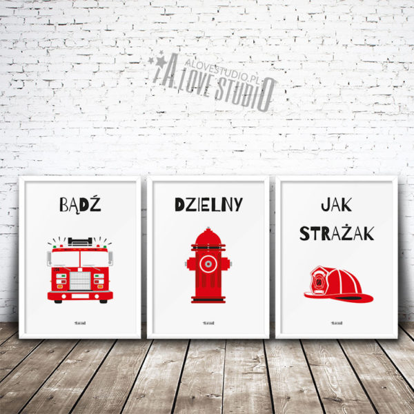 Plakaty dla dzieci dekoracje pokój chłopca strażak 1