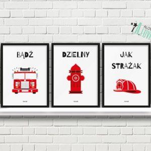 plakaty dla dzieci dekoracje pokój chłopca strażak a