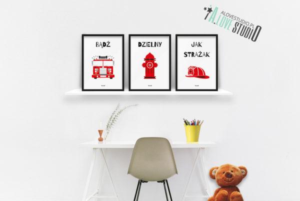 plakaty dla dzieci dekoracje pokój chłopca strażak b