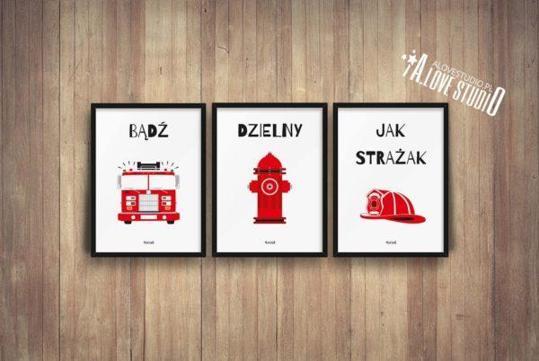 plakaty dla dzieci dekoracje pokój chłopca strażak c