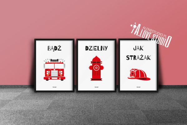 plakaty dla dzieci dekoracje pokój chłopca strażak d