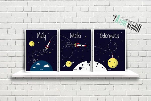plakaty rakieta dla dzieci dekoracje pokój chłopca mały wielki odkrywca a1