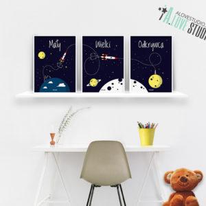 plakaty rakieta dla dzieci dekoracje pokój chłopca mały wielki odkrywca b