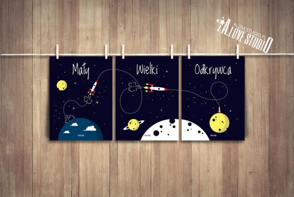 plakaty rakieta dla dzieci dekoracje pokój chłopca mały wielki odkrywca c