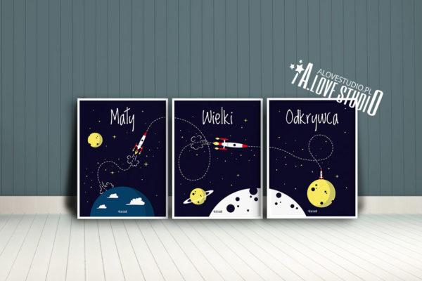plakaty rakieta dla dzieci dekoracje pokój chłopca mały wielki odkrywca d