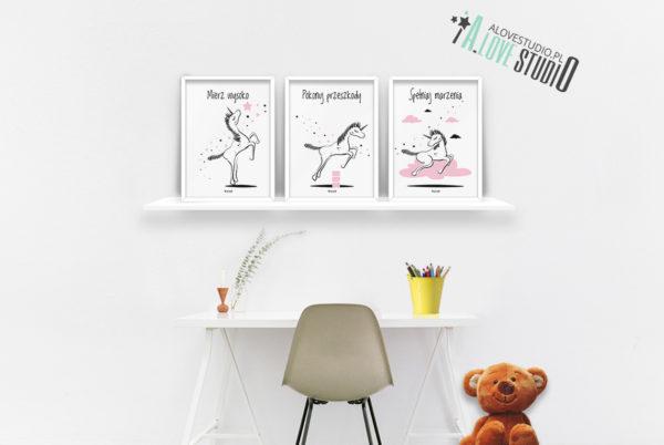 Plakaty dla dzieci jednorożec pokój dziewczynki spełniaj marzenia b