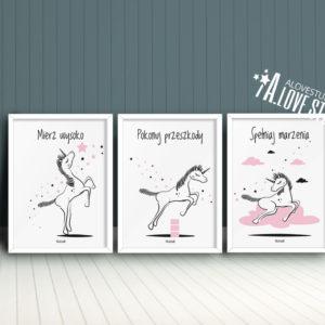Plakaty dla dzieci jednorożec pokój dziewczynki spełniaj marzenia d