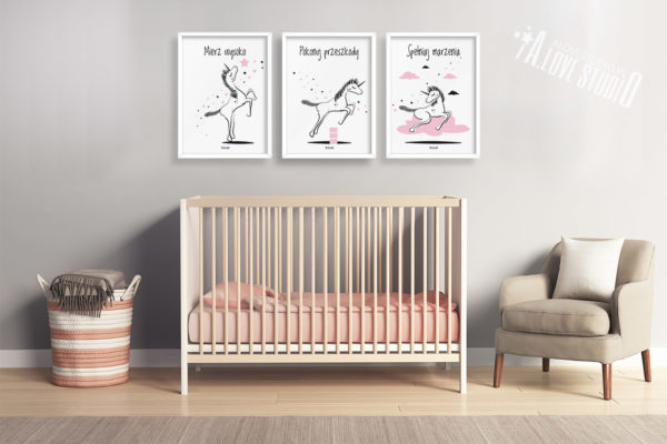 Plakaty dla dzieci jednorożec pokój dziewczynki spełniaj marzenia e