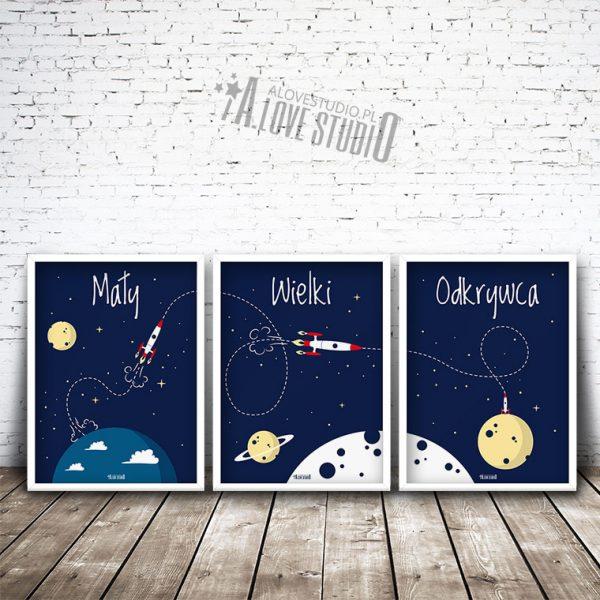 plakaty dla dzieci rakieta kosmos pokój chłopca mały wielki odkrywca 1