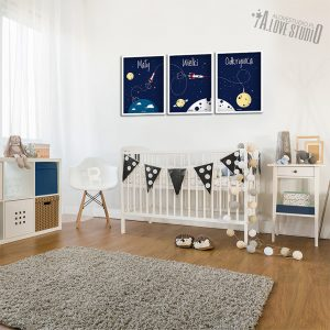 plakaty dla dzieci rakieta kosmos pokój chłopca mały wielki odkrywca 2