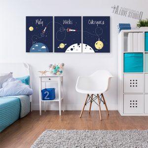 plakaty dla dzieci rakieta kosmos pokój chłopca mały wielki odkrywca 3