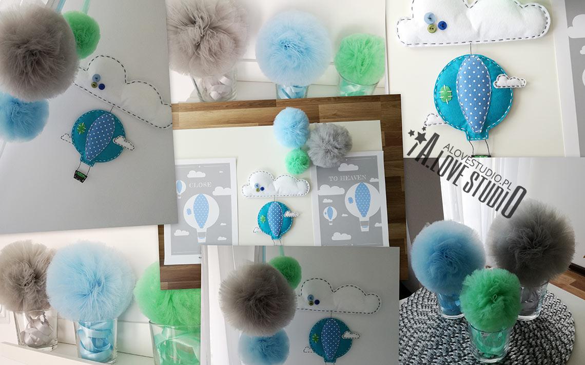 dekoracje pokój chłopca pomponu tiul plakaty balon