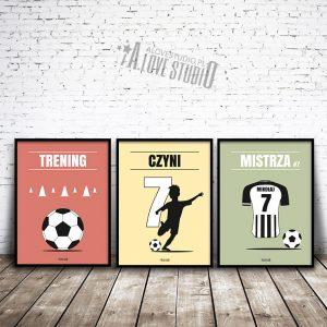plakaty piłkarz dla dzieci piłkarskie trening czyni mistrza 1