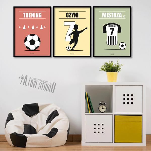 plakaty piłkarz dla dzieci piłkarskie trening czyni mistrza 2
