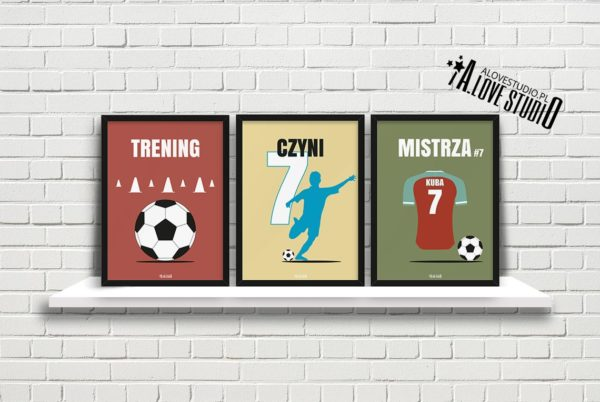 plakaty piłkarz dla dzieci piłkarskie trening czyni mistrza a