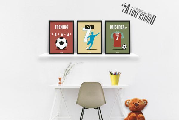 plakaty piłkarz dla dzieci piłkarskie trening czyni mistrza b