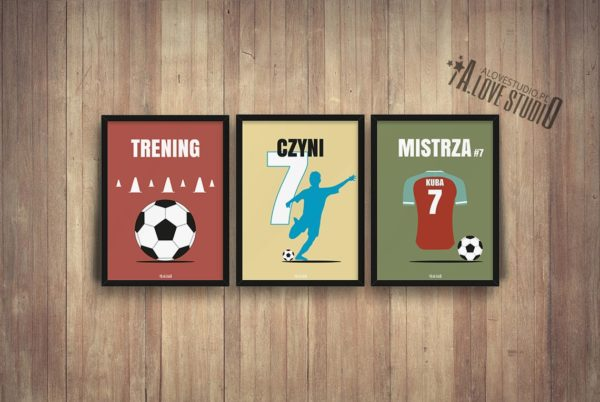 plakaty piłkarz dla dzieci piłkarskie trening czyni mistrza c