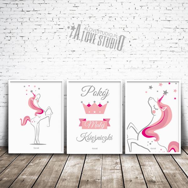 plakaty z jednorożcem pokój dziewczynki obrazki jednorożec księżniczka alovestudio 1