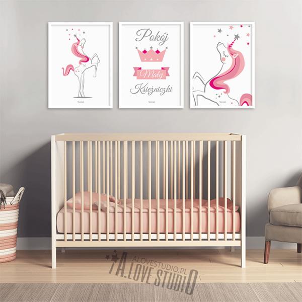 plakaty z jednorożcem pokój dziewczynki obrazki jednorożec księżniczka alovestudio 2