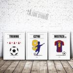 plakaty piłkarz dla dzieci piłkarskie pokój chłopca trening czyni mistrza - 1