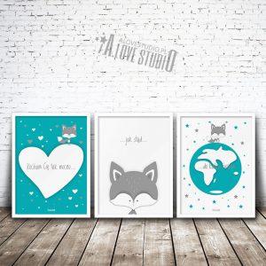 Plakaty dla dzieci lisek pokój chłopca Kocham cię mocno 1