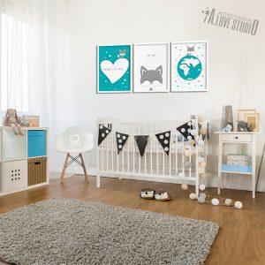 Plakaty dla dzieci lisek pokój chłopca Kocham cię mocno 2