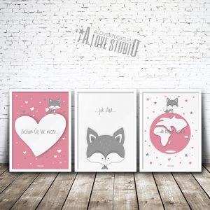 Plakaty dla dzieci lisek pokój dziewczynki Kocham cię mocno 1