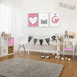Plakaty dla dzieci lisek pokój dziewczynki Kocham cię mocno 2