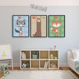 Szop Lama Lis plakaty dla dzieci alovestudio pl - 2