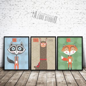Szop Lama Lis plakaty dla dzieci alovestudio pl