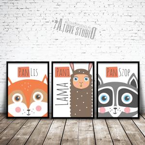 plakaty dla dzieci obrazki lis lisek lama szop alovestudio pl 1