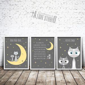 Plakaty obrazki dla dzieci śpij skarbie kotki alovestudio 1