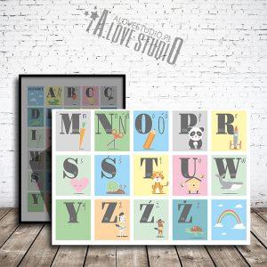 Alfabet dla dzieci abecadło cyferki liczby plakat alovestudio pl 5