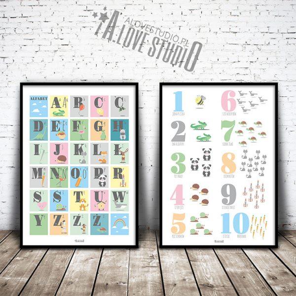 Alfabet dla dzieci abecadło cyferki liczby plakat alovestudio pl 1