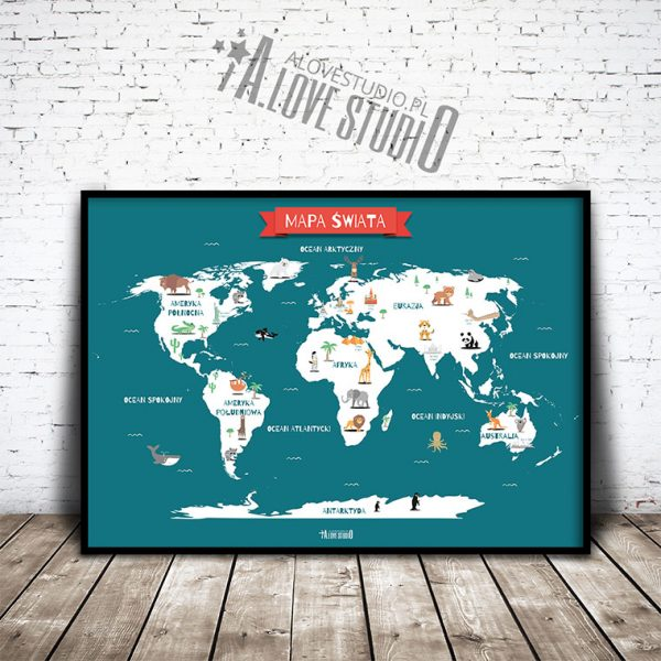 Mapa świata plakat dla dzieci kontynenty alovestudio pl 1