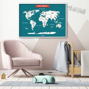 Mapa świata plakat dla dzieci kontynenty alovestudio pl 2